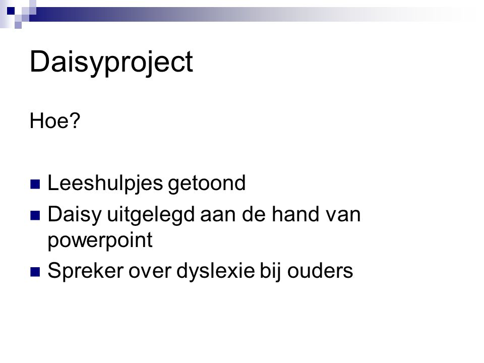 Daisyproject Hoe Leeshulpjes getoond