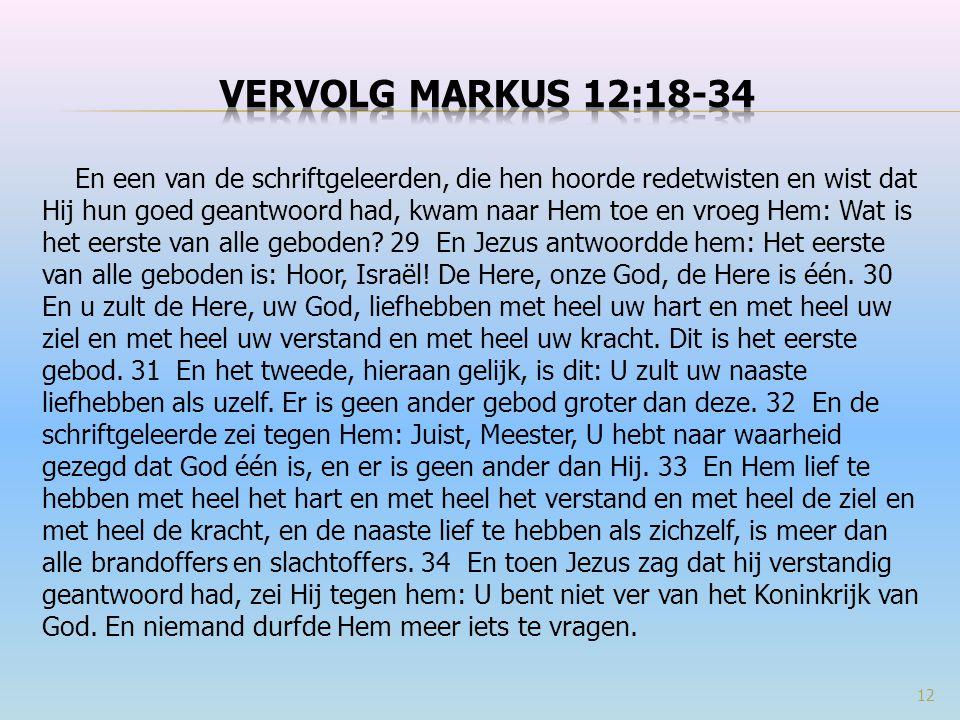 Vervolg Markus 12:18-34