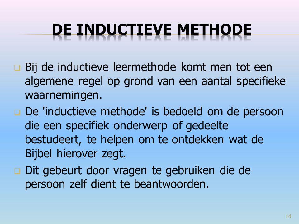 De inductieve methode Bij de inductieve leermethode komt men tot een algemene regel op grond van een aantal specifieke waarnemingen.