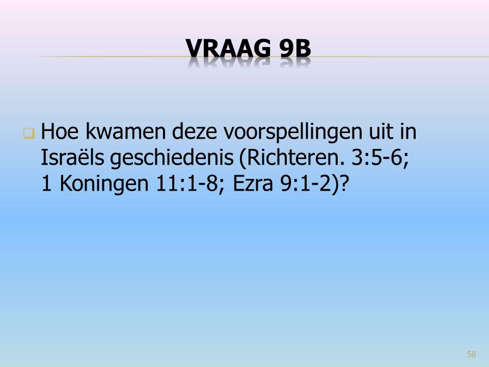 VRAAG 9b Hoe kwamen deze voorspellingen uit in Israëls geschiedenis (Richteren. 3:5-6; 1 Koningen 11:1-8; Ezra 9:1-2)