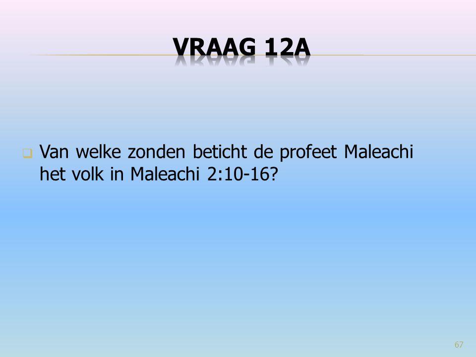 VRAAG 12a Van welke zonden beticht de profeet Maleachi het volk in Maleachi 2:10-16