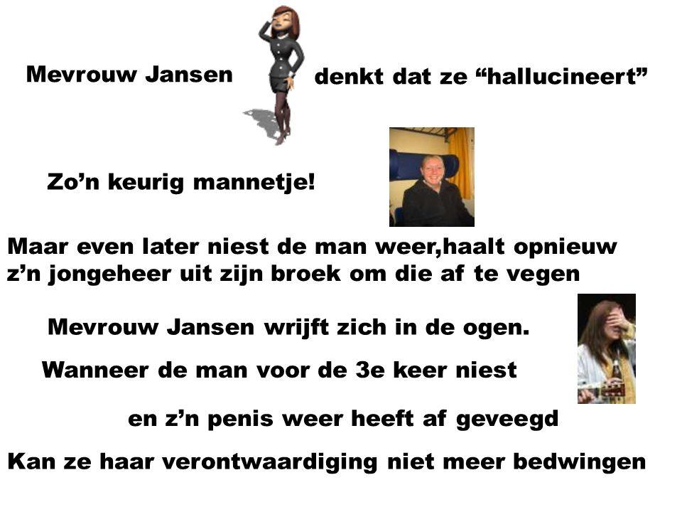 Mevrouw Jansen denkt dat ze hallucineert Zo'n keurig mannetje! Maar even later niest de man weer,haalt opnieuw.
