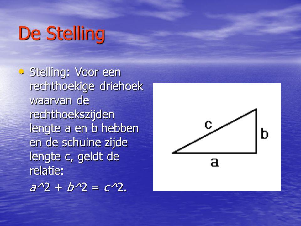 De Stelling Stelling: Voor een rechthoekige driehoek waarvan de rechthoekszijden lengte a en b hebben en de schuine zijde lengte c, geldt de relatie: