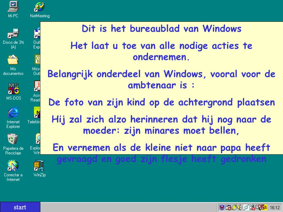 Dit is het bureaublad van Windows