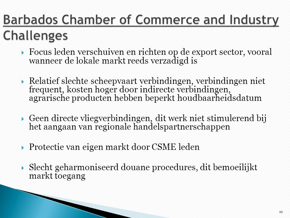 Barbados Chamber of Commerce and Industry Challenges