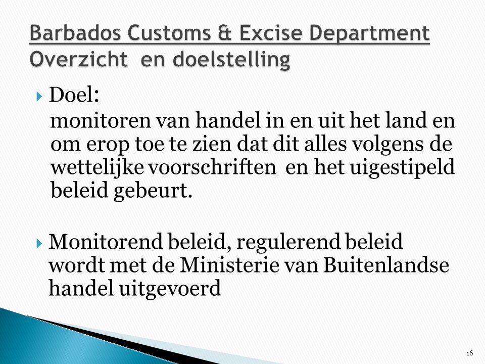 Barbados Customs & Excise Department Overzicht en doelstelling