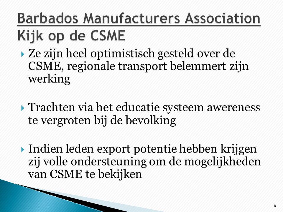 Barbados Manufacturers Association Kijk op de CSME