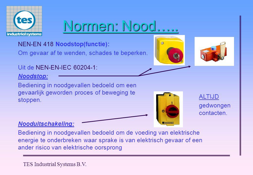 Normen: Nood….. NEN-EN 418 Noodstop(functie):