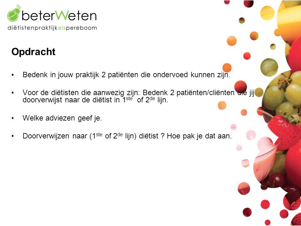 Opdracht Bedenk in jouw praktijk 2 patiënten die ondervoed kunnen zijn.