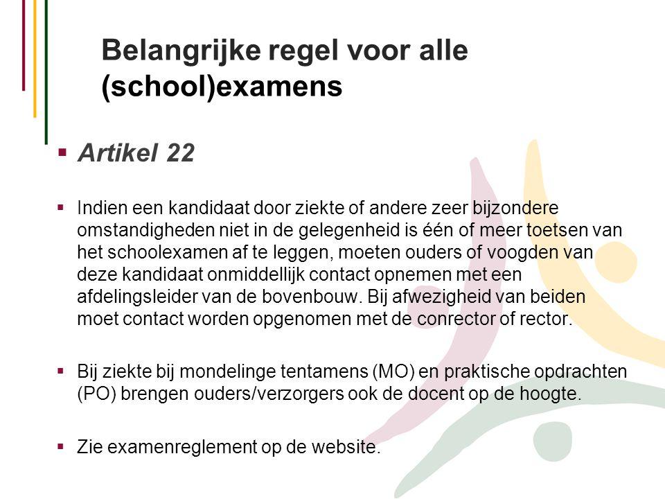 Belangrijke regel voor alle (school)examens