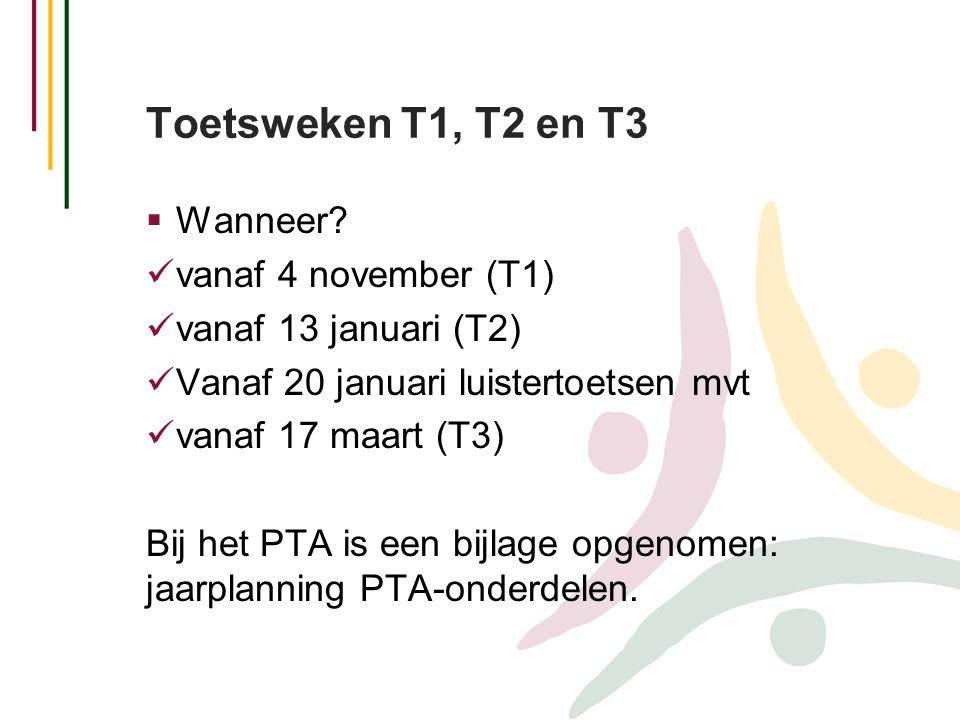Toetsweken T1, T2 en T3 Wanneer vanaf 4 november (T1)