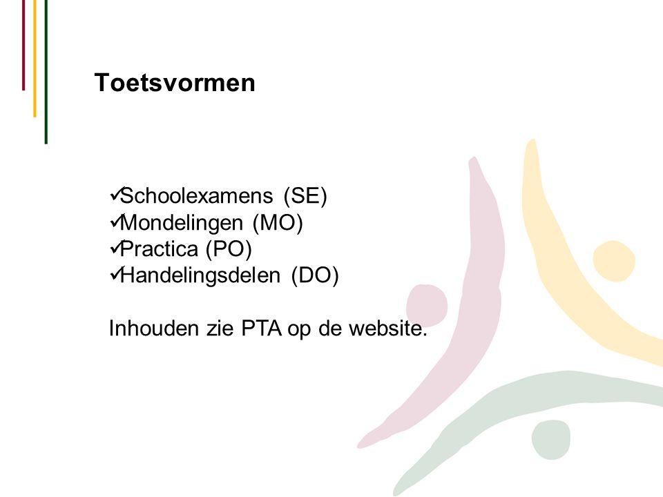 Toetsvormen Schoolexamens (SE) Mondelingen (MO) Practica (PO)