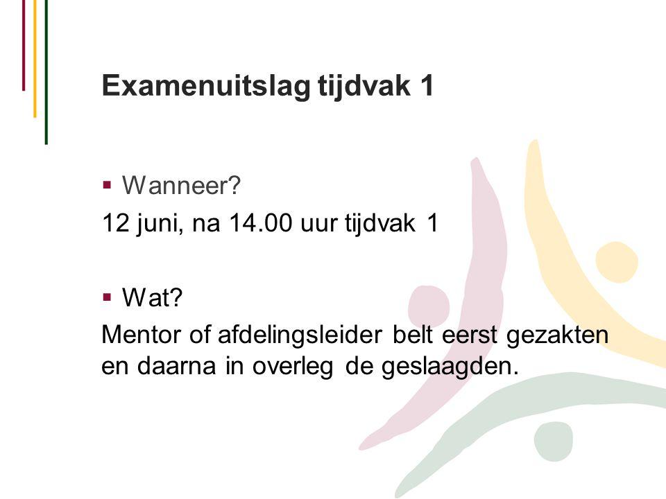 Examenuitslag tijdvak 1