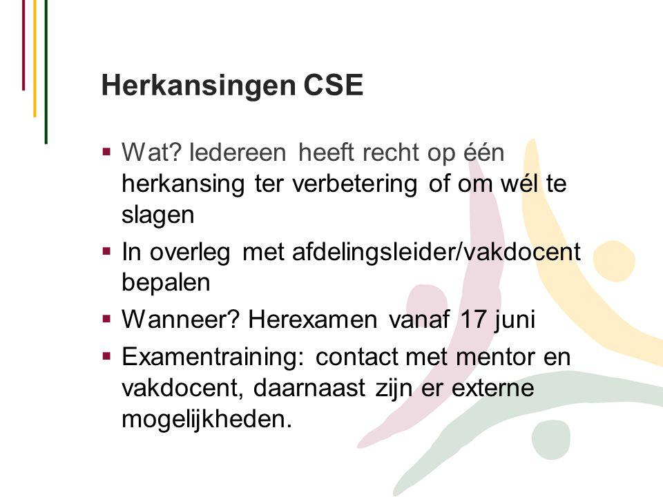 Herkansingen CSE Wat Iedereen heeft recht op één herkansing ter verbetering of om wél te slagen. In overleg met afdelingsleider/vakdocent bepalen.