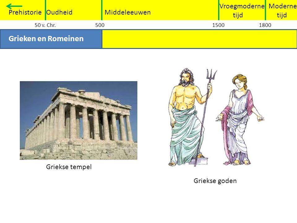 Grieken en Romeinen Vroegmoderne tijd Moderne tijd Prehistorie Oudheid