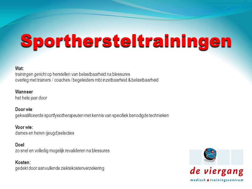 Sporthersteltrainingen