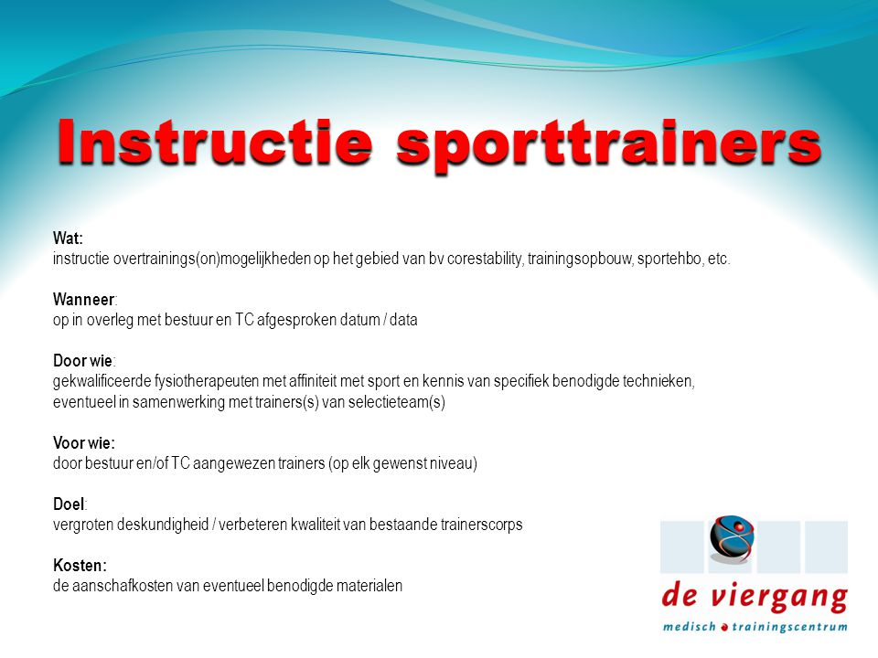 Instructie sporttrainers