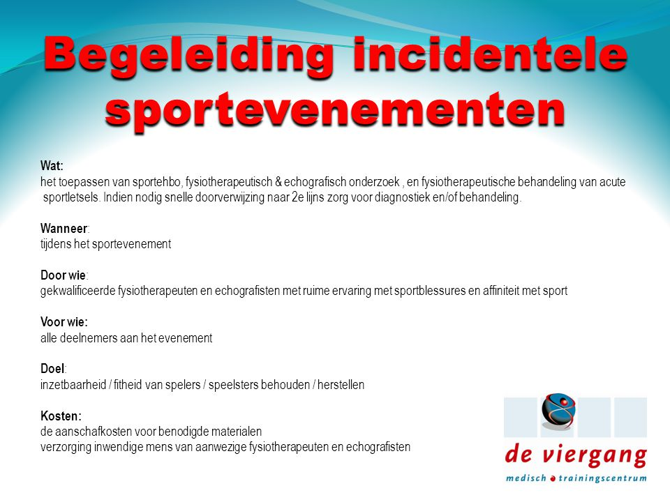 Begeleiding incidentele sportevenementen