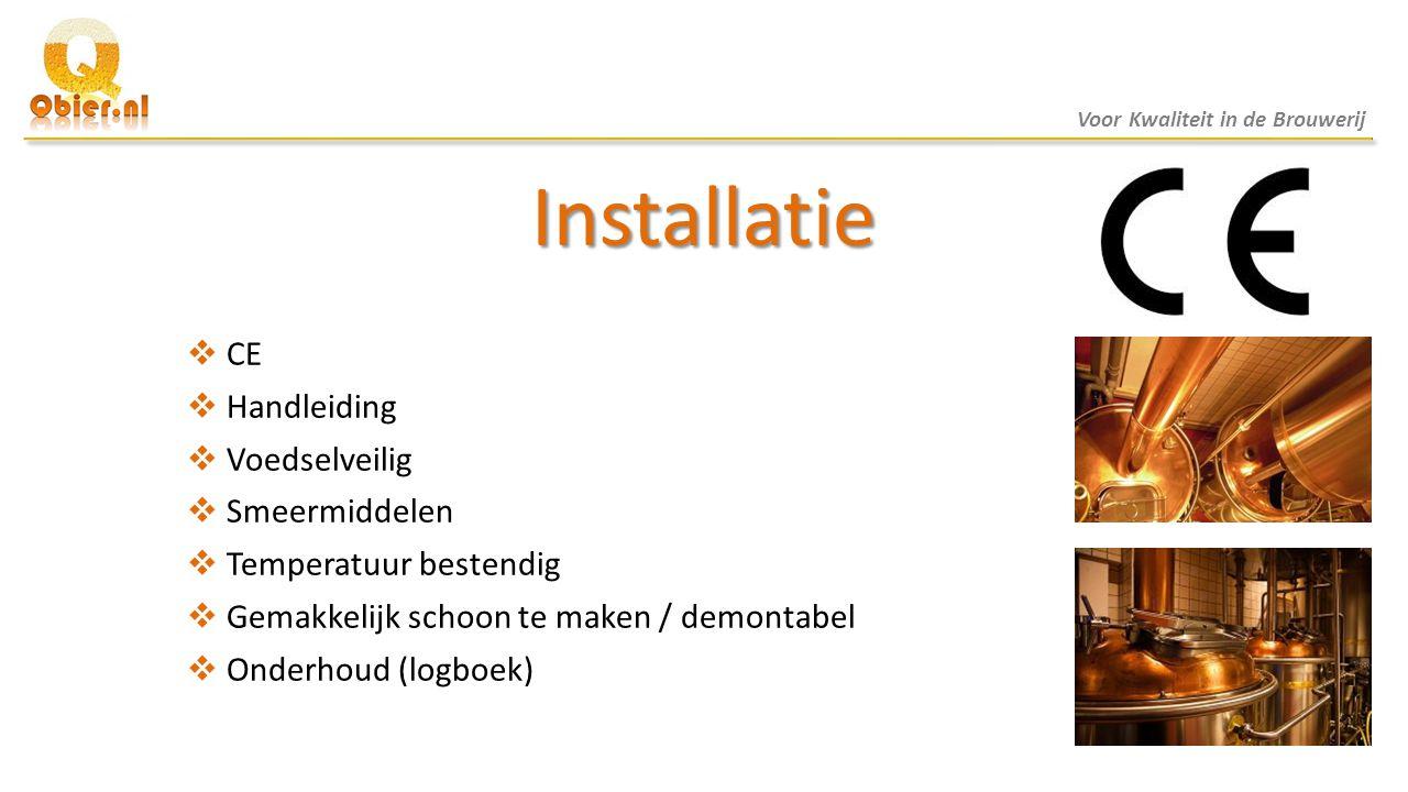 Installatie CE Handleiding Voedselveilig Smeermiddelen