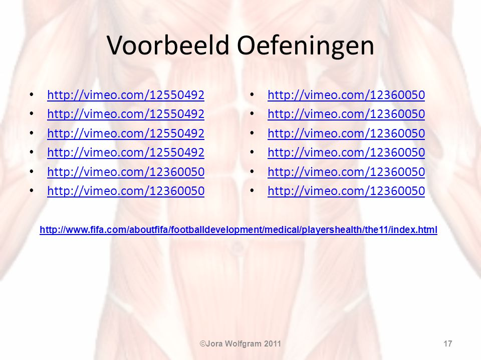 Voorbeeld Oefeningen http://vimeo.com/12550492