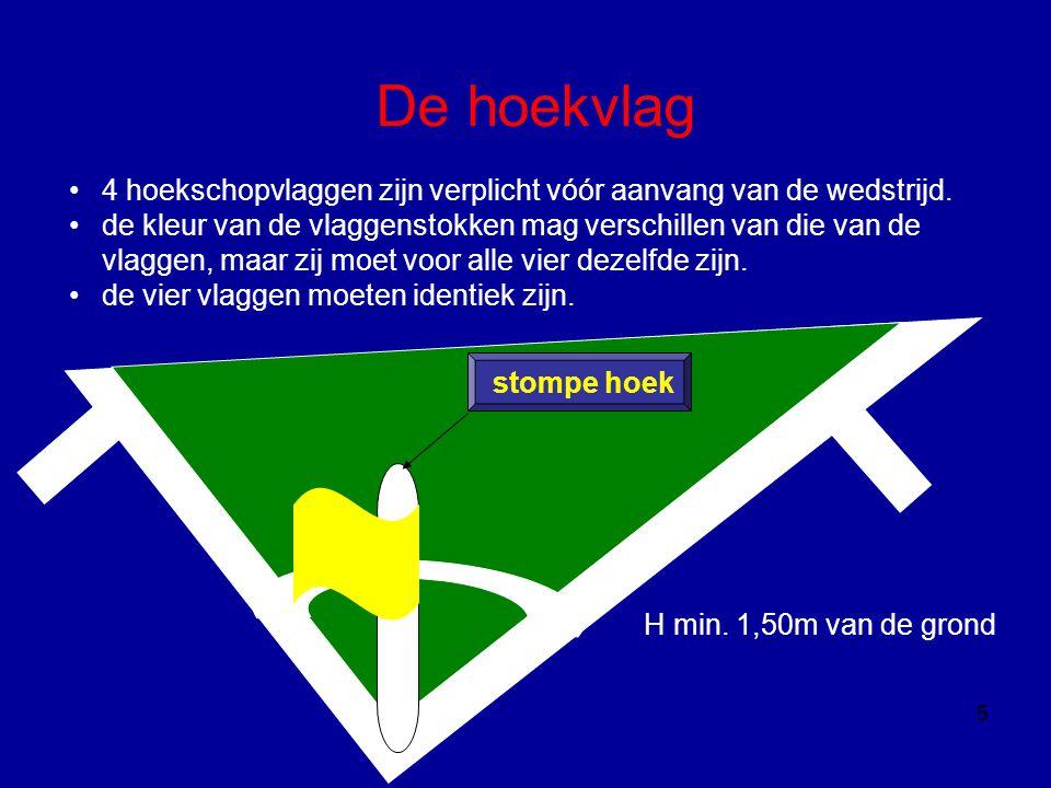 De hoekvlag 4 hoekschopvlaggen zijn verplicht vóór aanvang van de wedstrijd.