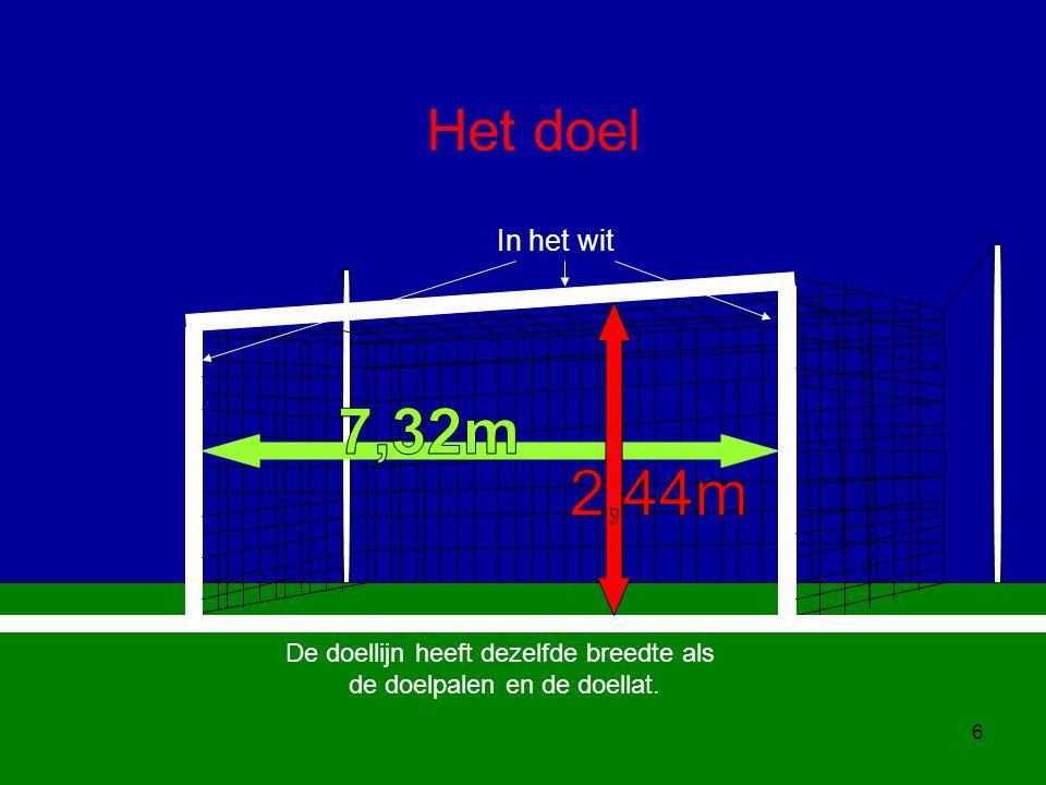 7,32m 2,44m Het doel In het wit De doellijn heeft dezelfde breedte als