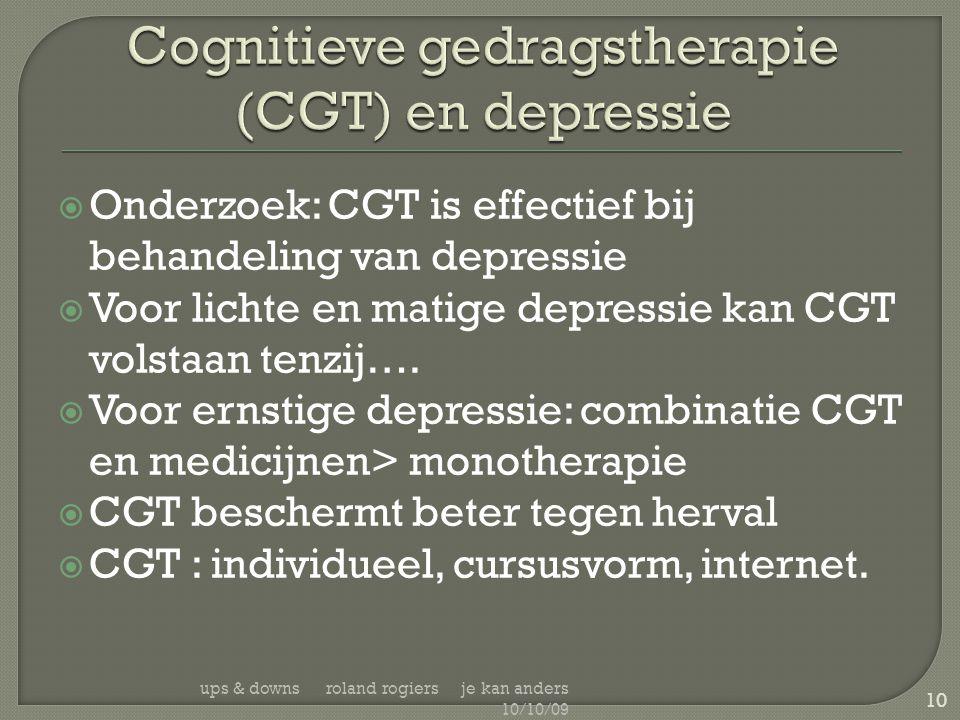 Cognitieve gedragstherapie (CGT) en depressie