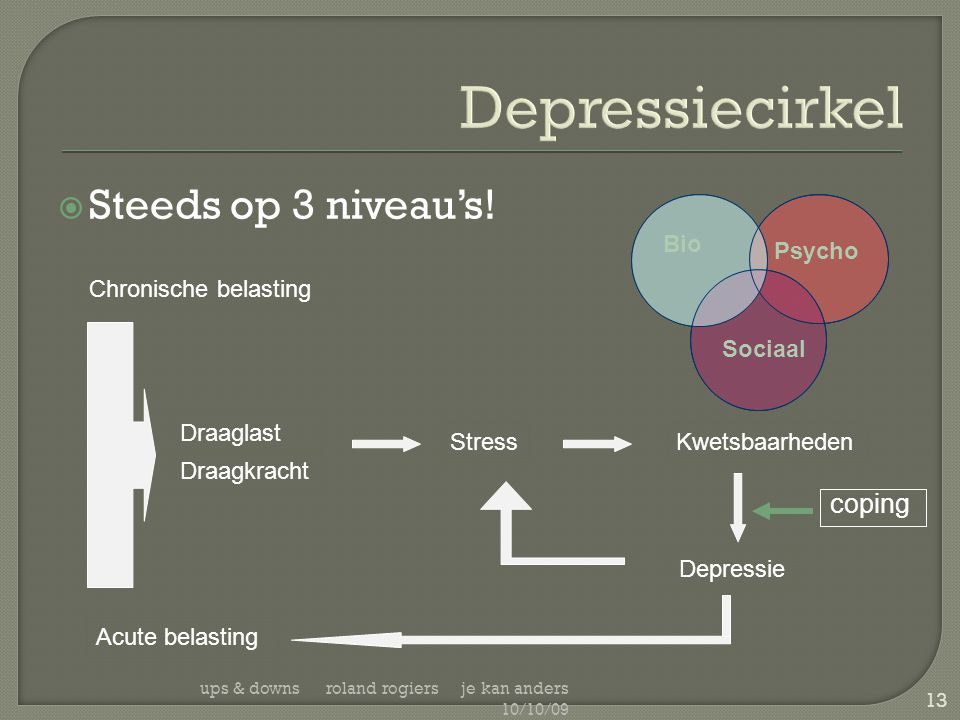 Depressiecirkel Steeds op 3 niveau's! coping Bio Psycho Sociaal