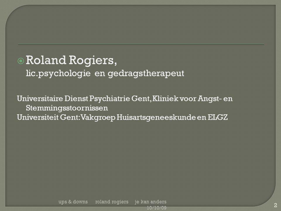 Roland Rogiers, lic.psychologie en gedragstherapeut