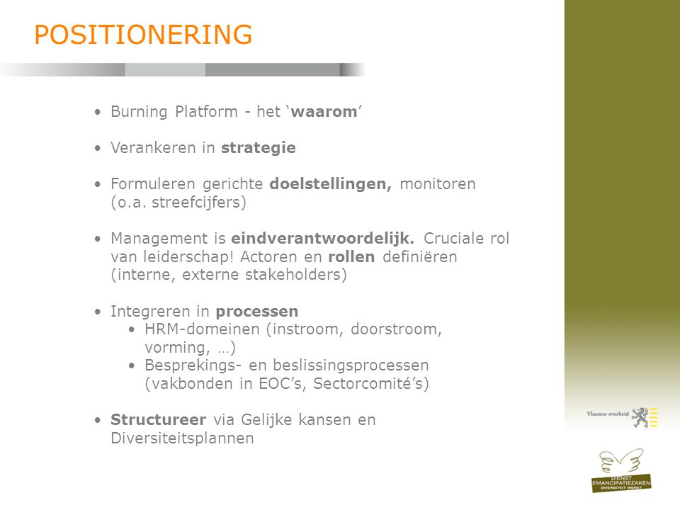 POSITIONERING Burning Platform - het 'waarom' Verankeren in strategie