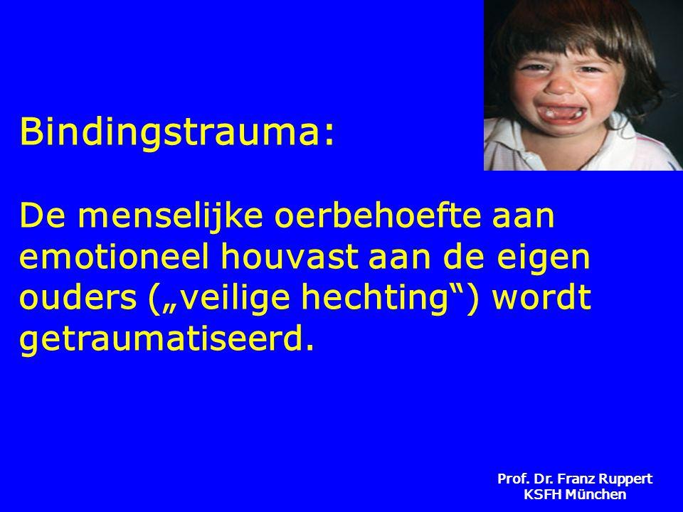 """Bindingstrauma: De menselijke oerbehoefte aan emotioneel houvast aan de eigen ouders (""""veilige hechting ) wordt getraumatiseerd."""