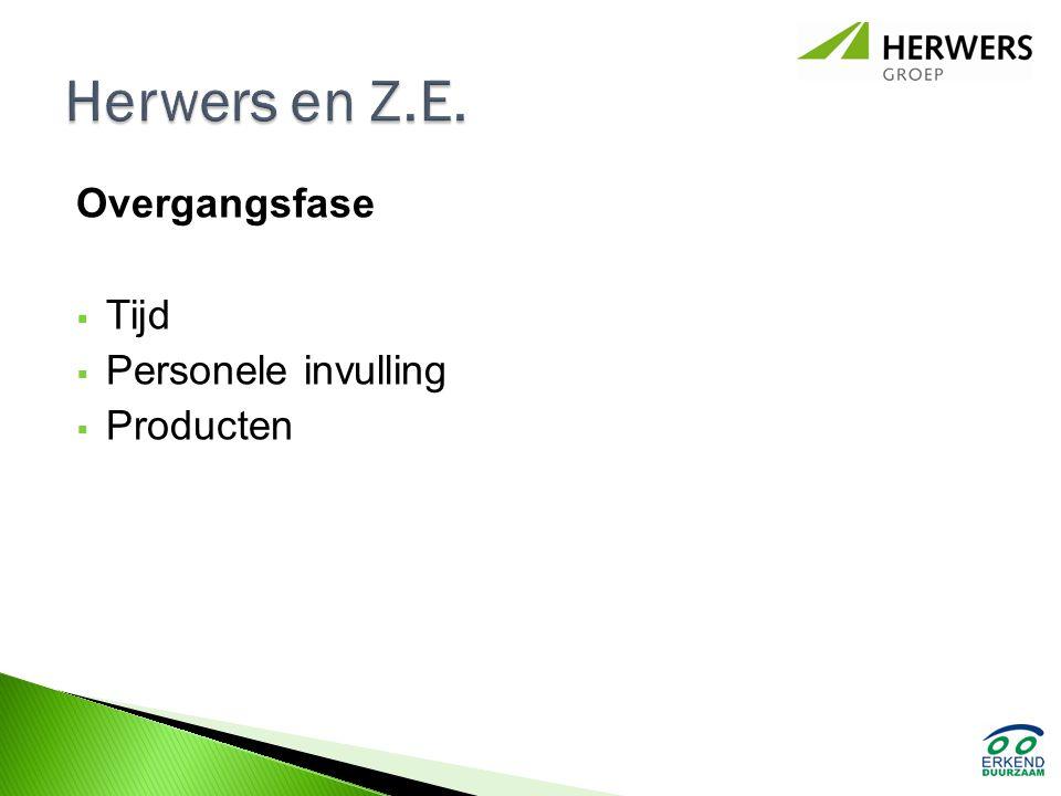Herwers en Z.E. Overgangsfase Tijd Personele invulling Producten