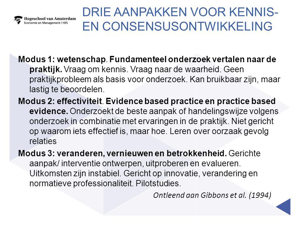Drie aanpakken voor kennis- en Consensusontwikkeling