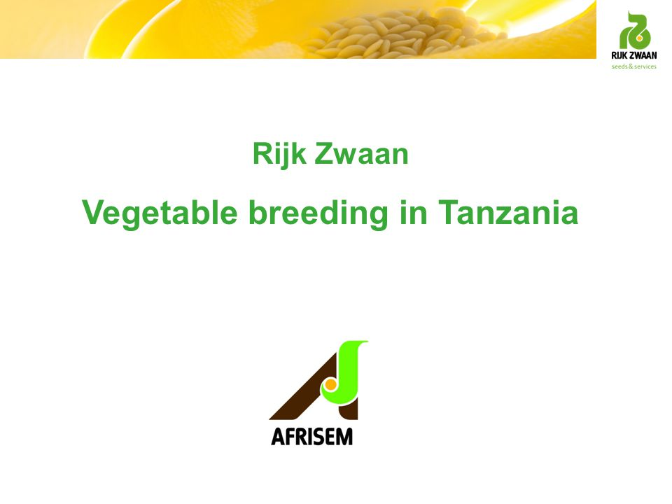 Vegetable breeding in Tanzania