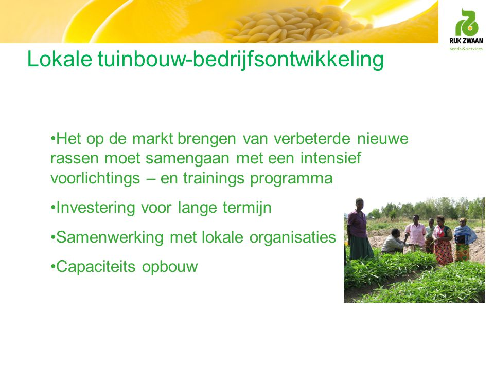 Lokale tuinbouw-bedrijfsontwikkeling