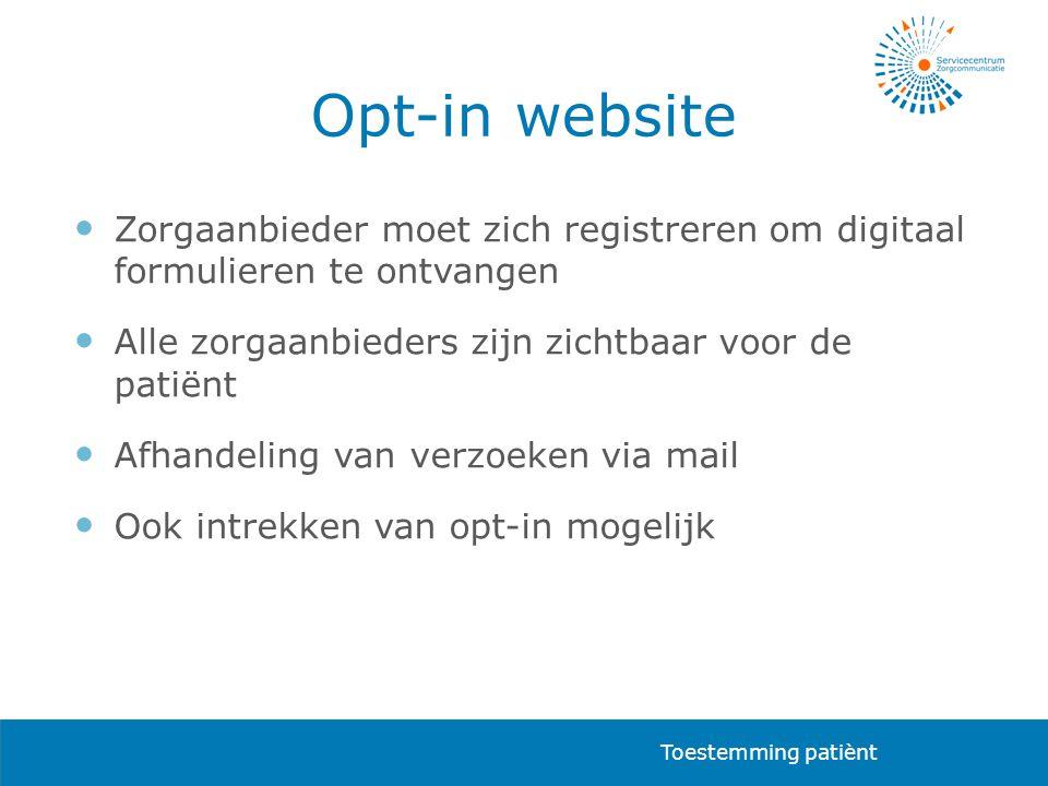 Opt-in website Zorgaanbieder moet zich registreren om digitaal formulieren te ontvangen. Alle zorgaanbieders zijn zichtbaar voor de patiënt.