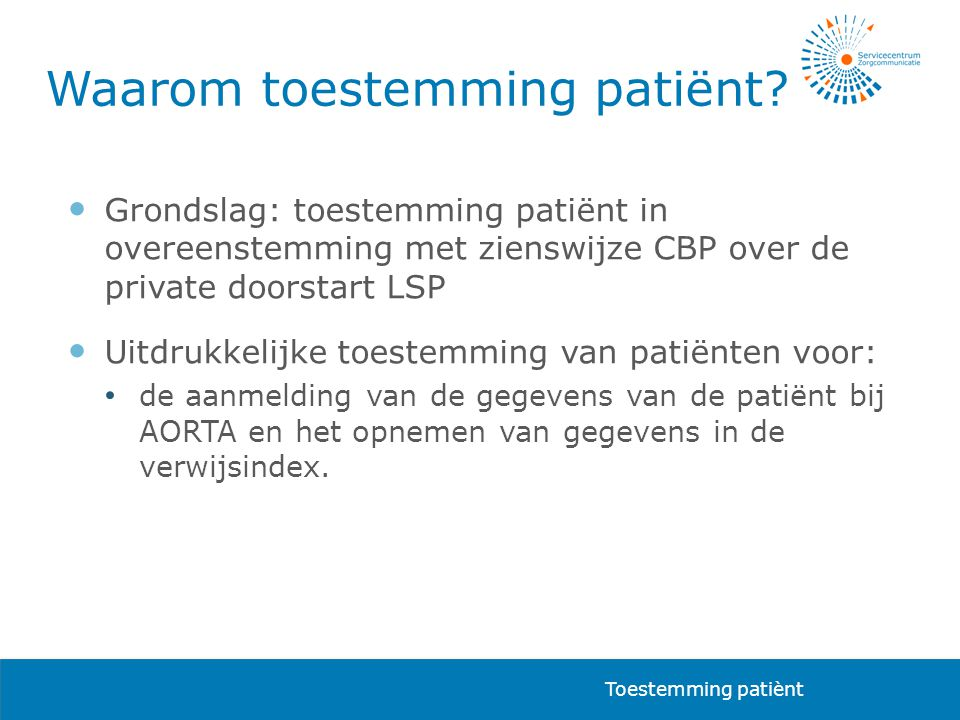 Waarom toestemming patiënt