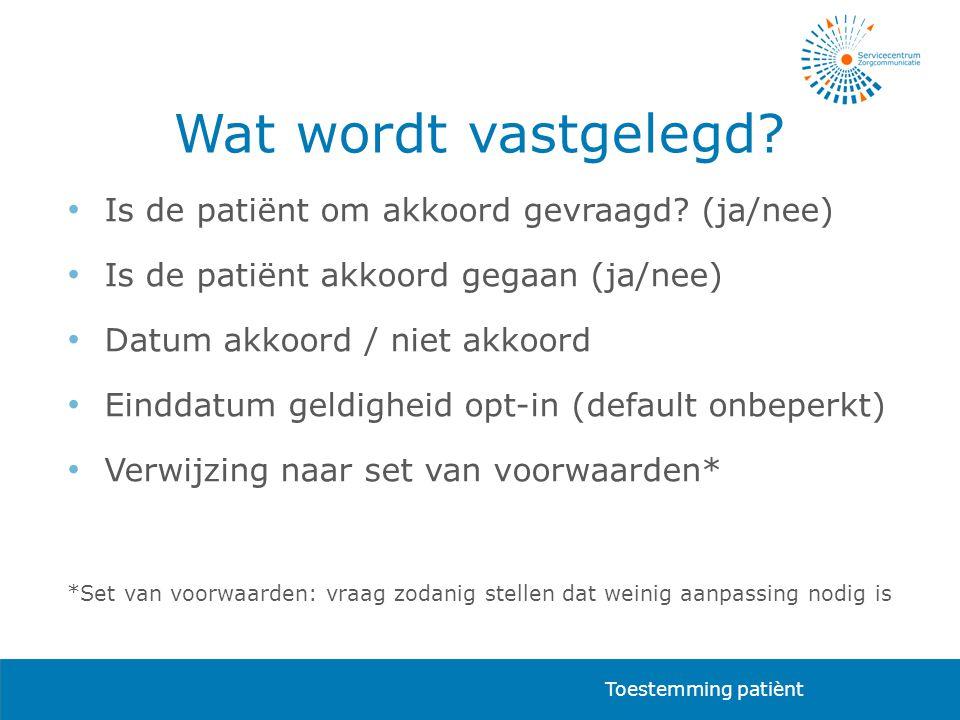 Wat wordt vastgelegd Is de patiënt om akkoord gevraagd (ja/nee)