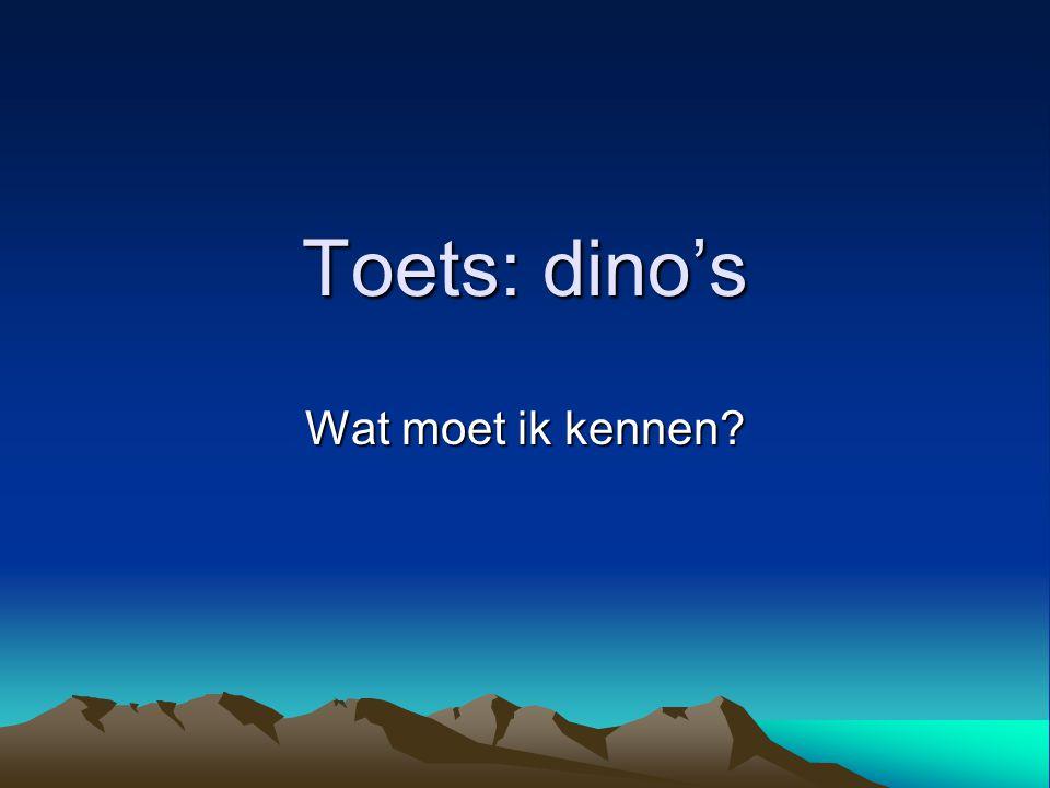 Toets: dino's Wat moet ik kennen