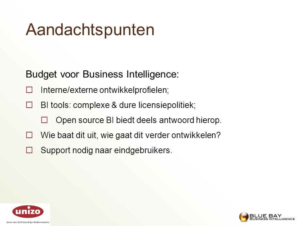 Aandachtspunten Budget voor Business Intelligence: