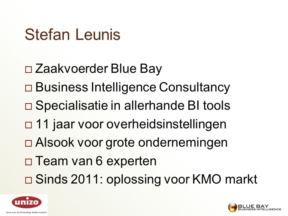 Stefan Leunis Zaakvoerder Blue Bay Business Intelligence Consultancy