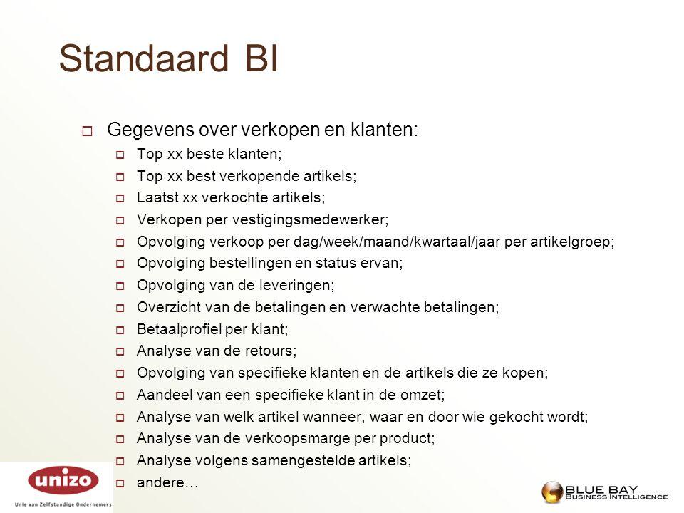 Standaard BI Gegevens over verkopen en klanten: Top xx beste klanten;