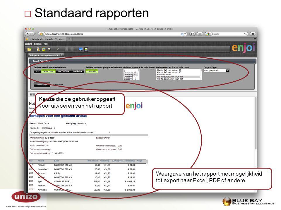 Standaard rapporten Keuze die de gebruiker opgeeft voor uitvoeren van het rapport.