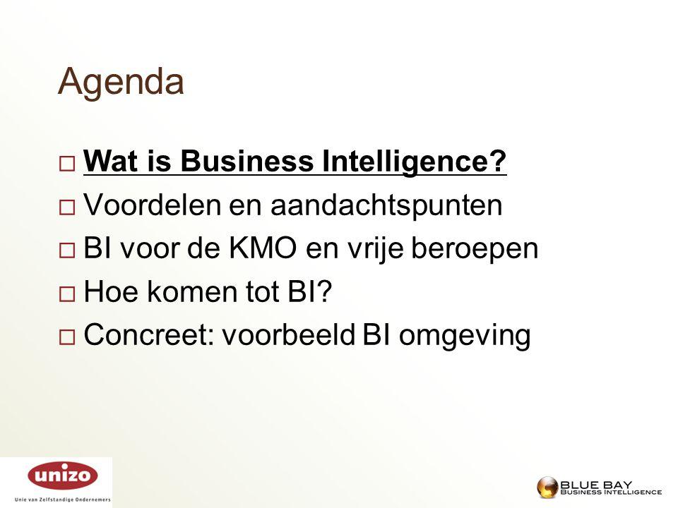Agenda Wat is Business Intelligence Voordelen en aandachtspunten