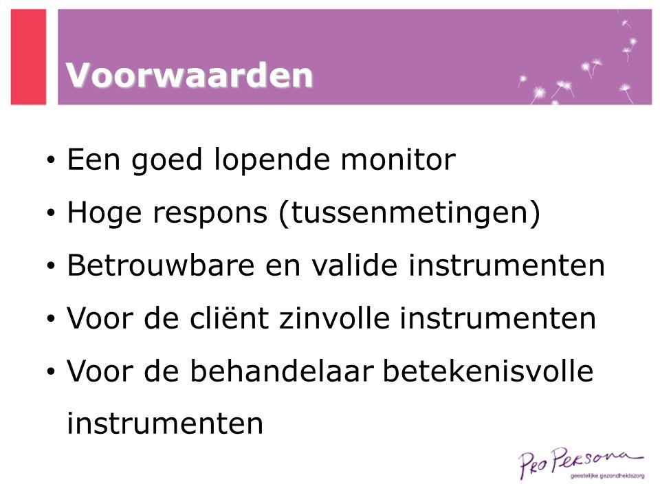Voorwaarden Een goed lopende monitor Hoge respons (tussenmetingen)