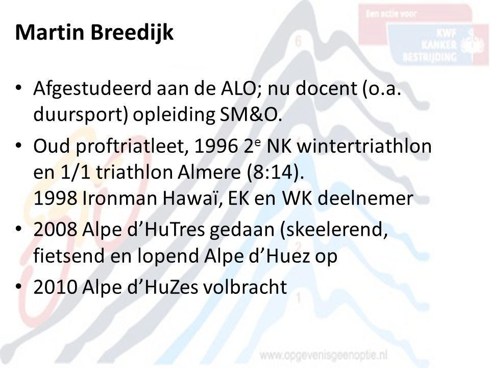 Martin Breedijk Afgestudeerd aan de ALO; nu docent (o.a. duursport) opleiding SM&O.