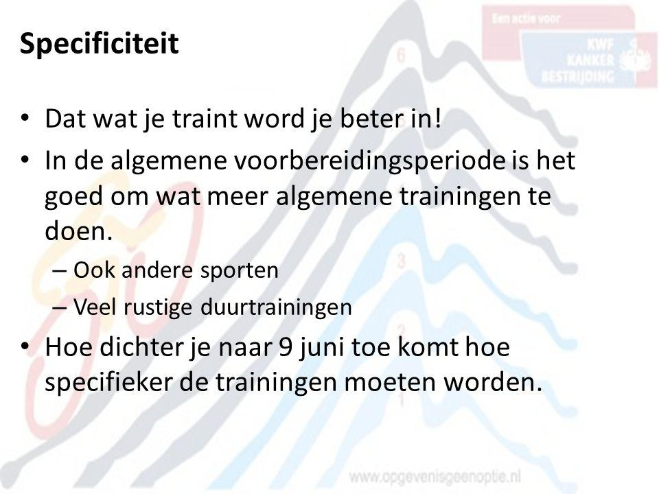 Specificiteit Dat wat je traint word je beter in!