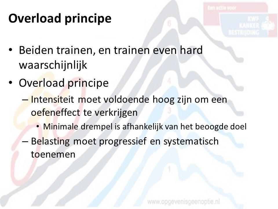Overload principe Beiden trainen, en trainen even hard waarschijnlijk