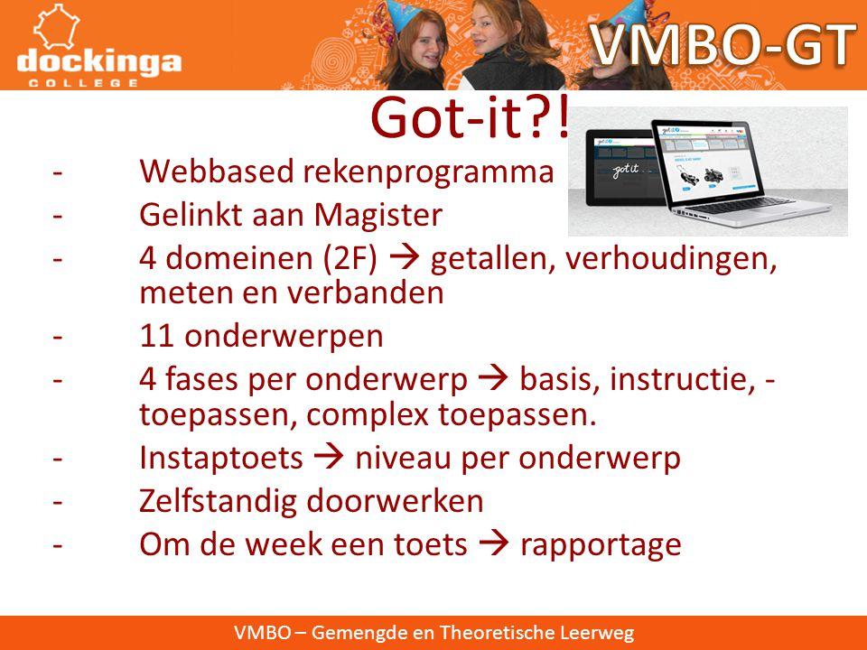 VMBO-GT Got-it ! - Webbased rekenprogramma - Gelinkt aan Magister
