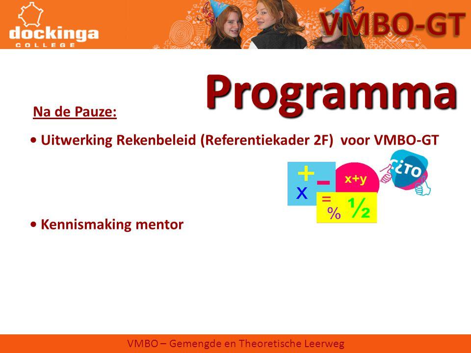 Programma VMBO-GT Na de Pauze:
